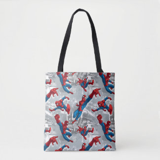 Spider-Man Swinging Over City Pattern Tote Bag