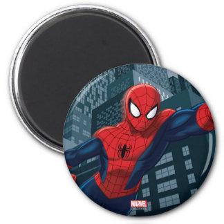 Spider-Man Swinging Through Downtown Magnet