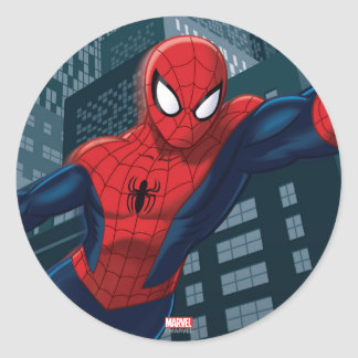 Spider-Man Swinging Through Downtown Round Sticker