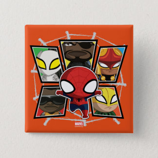 Spider-Man Team Heroes Mini Group 15 Cm Square Badge