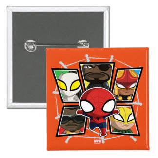 Spider-Man Team Heroes Mini Group 15 Cm Square Badge