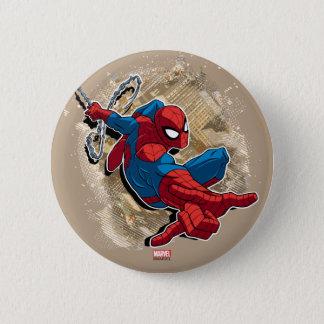 Spider-Man Web Slinging Above Grunge City 6 Cm Round Badge