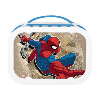 Spider-Man Web Slinging Above Grunge City Lunchboxes