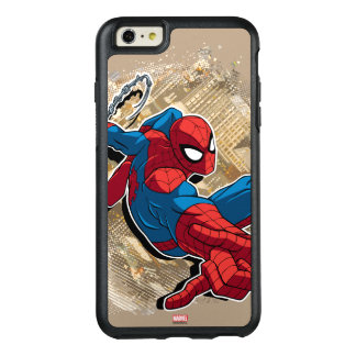 Spider-Man Web Slinging Above Grunge City OtterBox iPhone 6/6s Plus Case