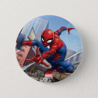 Spider-Man Web Slinging By Train 6 Cm Round Badge