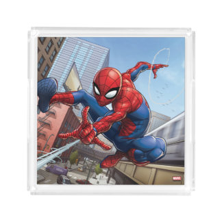 Spider-Man Web Slinging By Train Acrylic Tray