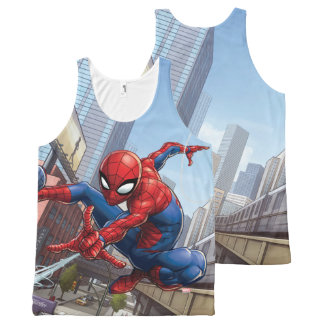Spider-Man Web Slinging By Train All-Over Print Singlet