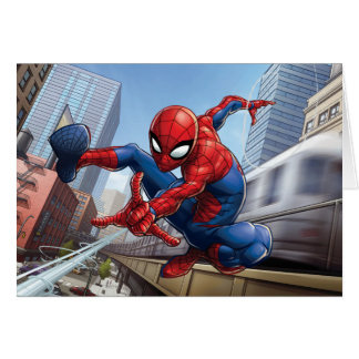 Spider-Man Web Slinging By Train Card