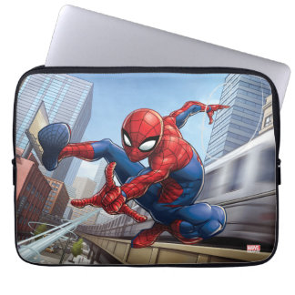 Spider-Man Web Slinging By Train Laptop Sleeve