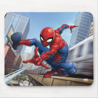 Spider-Man Web Slinging By Train Mouse Pad