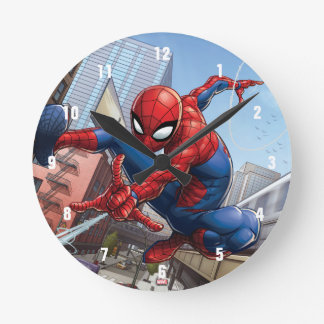 Spider-Man Web Slinging By Train Round Clock