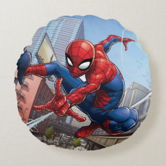 Spider-Man Web Slinging By Train Round Cushion