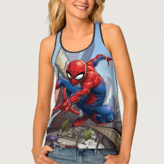 Spider-Man Web Slinging By Train Singlet