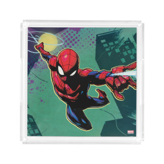 Spider-Man Web Slinging From Above Acrylic Tray