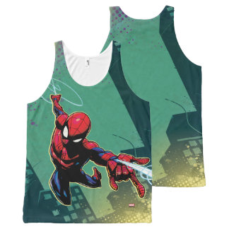 Spider-Man Web Slinging From Above All-Over Print Singlet