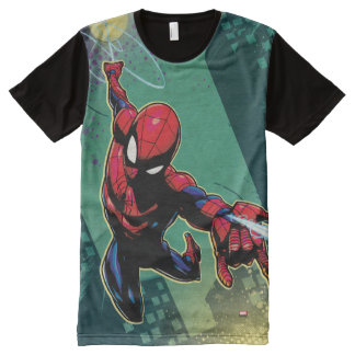 Spider-Man Web Slinging From Above All-Over Print T-Shirt