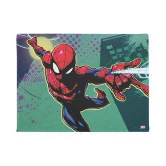 Spider-Man Web Slinging From Above Doormat