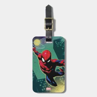 Spider-Man Web Slinging From Above Luggage Tag