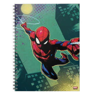 Spider-Man Web Slinging From Above Notebook