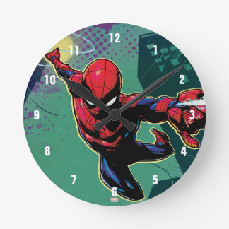 Spider-Man Web Slinging From Above Round Clock