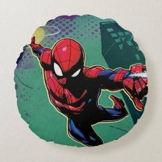 Spider-Man Web Slinging From Above Round Cushion