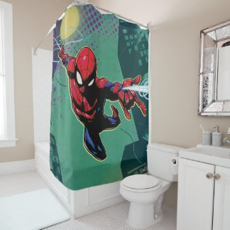 Spider-Man Web Slinging From Above Shower Curtain
