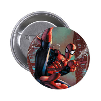 Spider-Man Web Slinging In City Marker Drawing 6 Cm Round Badge