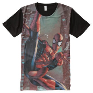 Spider-Man Web Slinging In City Marker Drawing All-Over Print T-Shirt