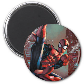 Spider-Man Web Slinging In City Marker Drawing Magnet
