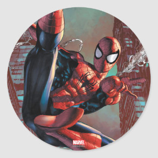 Spider-Man Web Slinging In City Marker Drawing Round Sticker