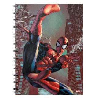 Spider-Man Web Slinging In City Marker Drawing Spiral Notebooks