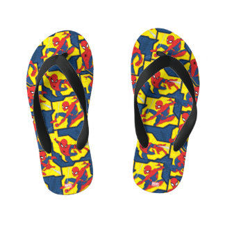 Spider-Man Web Slinging Panel Pattern Kid's Thongs