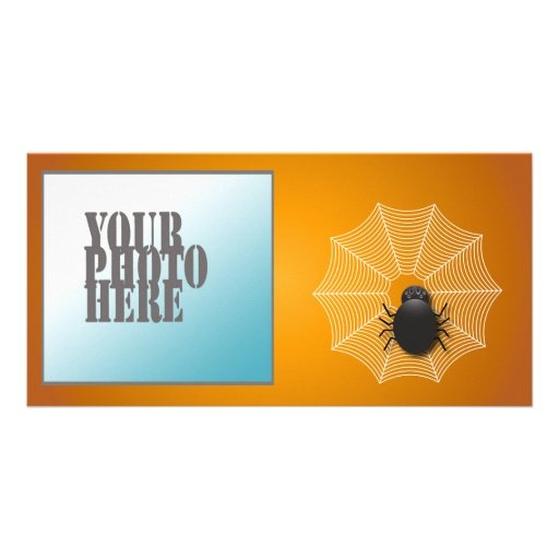 Spider on a Web Photo Card Template