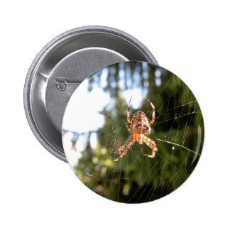 Spider on its web 6 cm round badge
