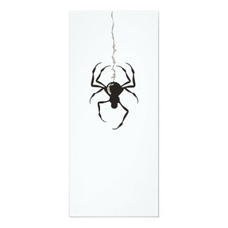 "Spider on Strand (Black) Invitations 4"" X 9.25"" Invitation Card"