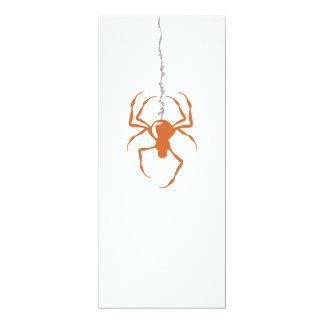 "Spider on Strand (Orange) Invitations 4"" X 9.25"" Invitation Card"