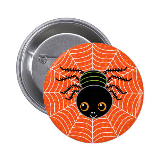 Spider on Web 6 Cm Round Badge