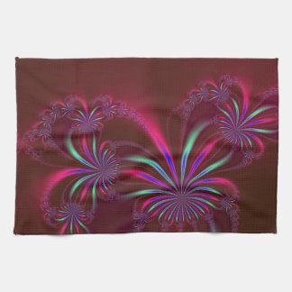 Spider Plant Fractal on Burgundy Kitchen Towels