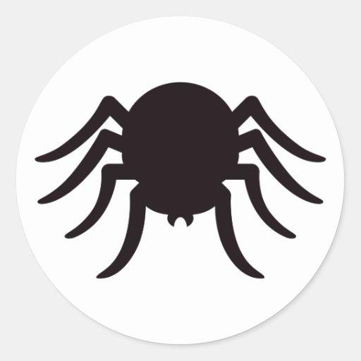 Spider silhouette black white Halloween stickers | Zazzle