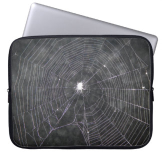 Spider Web At Night Laptop Sleeve