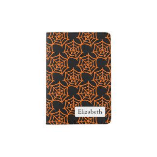 spider web halloween pattern passport holder