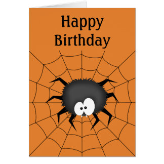 Spider, Web, Happy Birthday Card