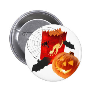 Spider Web Pumpkins and Bat 6 Cm Round Badge
