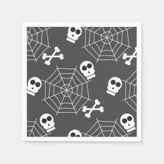 Spider webs, skulls, crossbones pattern Halloween Disposable Serviette