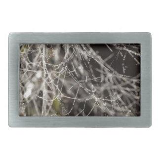 Spider webs with dew drops belt buckle