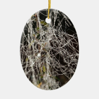 Spider webs with dew drops ceramic ornament