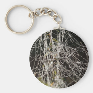 Spider webs with dew drops key ring