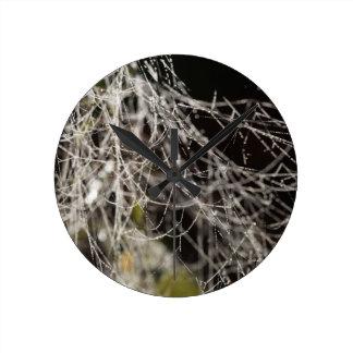 Spider webs with dew drops round clock