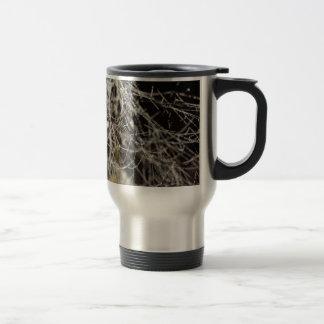 Spider webs with dew drops travel mug