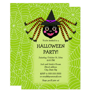 Spider Witch Halloween Party Card